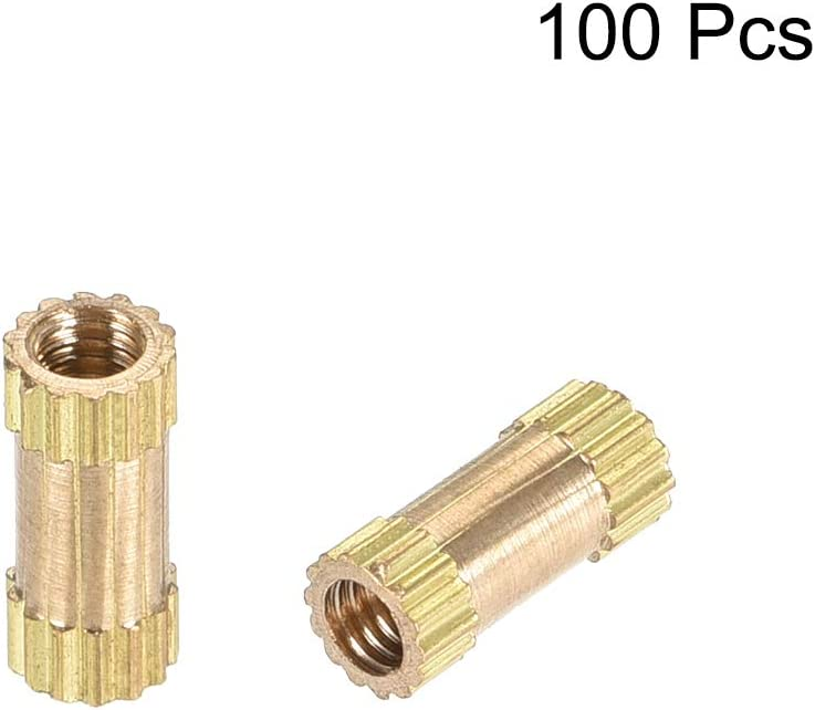 uxcell Knurled Insert Nuts M2.5 x 8mm L x 3.5mm OD Female Thread Brass Embedment Assortment Kit 100 Pcs