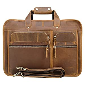 Texbo Men's Solid Full Grain Cowhide Leather Large 17 Inch Laptop Briefcase Messenger Bag Tote with YKK Metal Zippers