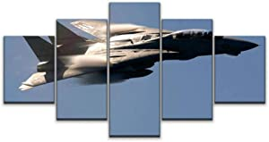 Skipvelo 5 Panels Wall Canvas Prints Pictures, air Show Military f 14 Tomcat Jet Fighter Aircraft high Speed Fast Wall Paintings Wall Decor Stretched and Framed Ready to Hang