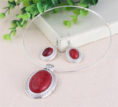 QIYUN.Z Chunky Oval Turquoise Tibet Silver Pendant Torque Necklace Earrings Choker Set