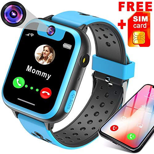 [Free Speedtalk Card] Kids Smart Watch Phone for 3-12 Year Old Girls Boys SOS Calls with 1.54'' HD Screen Games Flashlight Alarm Clock Phone Smartwatch Electronic Learning Toys Birthday -