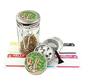 Leaf Girl -42 mm- 4Pcs Small Size Grinder and 75 ml Locking Top Glass Jar Combo Gift Set # G42-5715-319