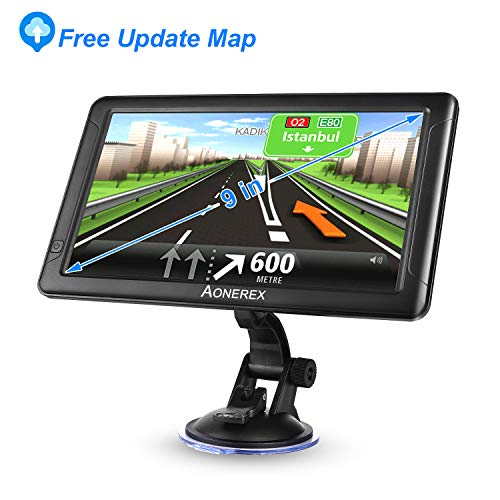 Navigation System for Cars 7 Inch with High Resolution Touch Screen Real Voice Direction Vehicle GPS Navigator Lifetime Map Updates (9inch GPS)
