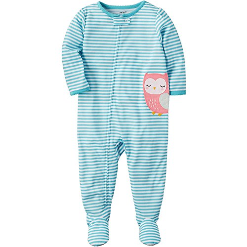 Carter's Girls' 12M-4T Owl Striped One Piece Cotton Pajamas 3T