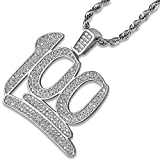 Jin'ao JINAO Hip Hop Iced Out Silver Plated Emoji 100 Pendant Necklace with 24'' Stainless Steel Chain