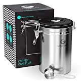 coffee bean bin - Coffee Gator Stainless Steel Container - Canister with co2 Valve, Scoop and eBook - Large, Silver