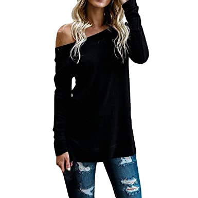 ed591e7755738b Rambling New Womens Sweaters Off The Shoulder Pullover Sweater Long Sleeve  Knit Jumper Blouse Tops Black