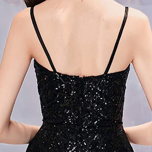 Noche Banquete Temperamento Lentejuela Negro De Vestido Honda Falda Femenina Invierno Delgado Largo Sexy Qjkai xEgX4qw