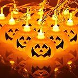 wang xiao si Halloween Pumpkin Light Strings, 3D Pumpkin Lights Indoor LED-Lantern Halloween Lights Decorating Family Reunion (16 LEDs, Battery Powered, 9 ft / 3 m)