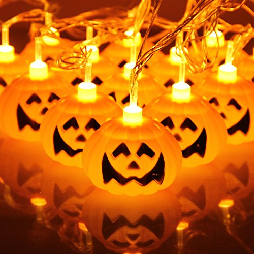 wang xiao si Halloween Pumpkin Light Strings, 3D Pumpkin Lights Indoor LED-Lantern Halloween Lights Decorating Family Reunion (16 LEDs, Battery Powered, 9 ft / 3 m) by wang xiao si