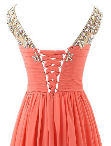 Abendkleider Coral Lang Chiffon Empire Linie Damen Perlen Brautjungfernkleid Changjie Elegant A Abiballkleid qxv6EP
