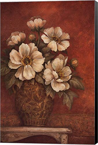 Gladding Villa - Villa Flora Peony by Pamela Gladding Canvas Art Wall Picture, Museum Wrapped with Black Sides, 24 x 36 inches
