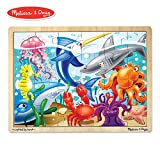 Melissa & Doug Under the Sea Wooden Jigsaw Puzzle (Preschool, Sturdy Wooden Construction, 24 Pieces)