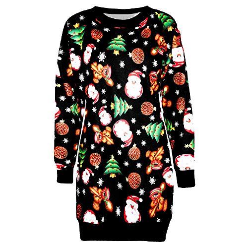 FEDULK Christmas Womens Dress Santa Claus Print Ugly Sweater Xmas Pullover Mini Dress(Black3, US Size XL = Tag 2XL) ()