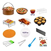 Air Fryer Accessories 8 inch XL,for Gowise Phillips Cozyna Ninja 4.2QT to 5.8 QT with Rust Proof Golden Cake Barrel, Pizza Pan,etc.(14pcs)Safe BPA Free