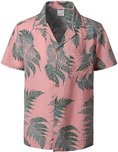 LFNANYI Mens Hipster Floral Algodón Camisa Hawaiana Fiesta ...