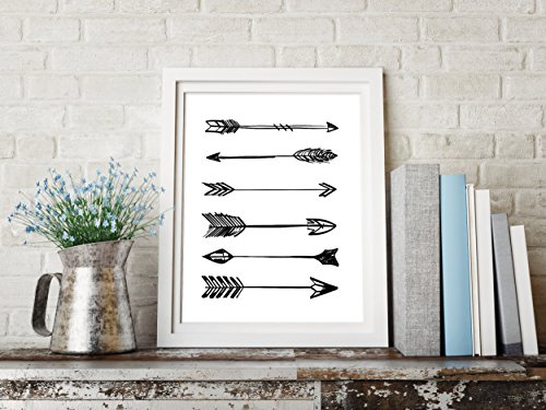Black and White Graphic Design Print 8.5 x11 Artwork Arrows