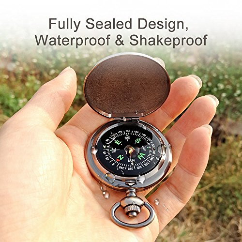 Gifts Classic Compass. Accurate, Waterproof, Shakeproof (Silver) (Charm Sundial)
