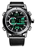Menton Ezil Men's Sports Watch Sapphire Big Face Analog Digital Dual Time Waterproof EL Backlight, Multifunctional Outdoor Military Wrist Watches (Black)