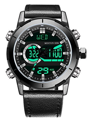(Menton Ezil Men's Sports Watch Sapphire Big Face Analog Digital Dual Time Waterproof EL Backlight, Multifunctional Outdoor Military Wrist Watches with Leather Strap ... (Black))