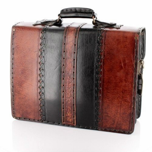 14 inch Handmade Leather Men's Briefcase Messenger Laptop Bag Purse Handbag Large Brown