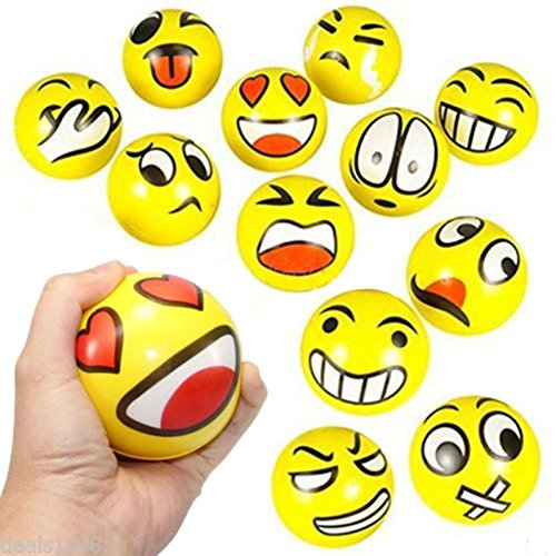 Z.H.B Assorted Big Happy Emoji Face Squeeze Balls For Stress Reducer / Anxiety Relieves (Perfect for theme party, birthday party) Fun Office Holiday Gift Stocking Stuffer Fun Stocking