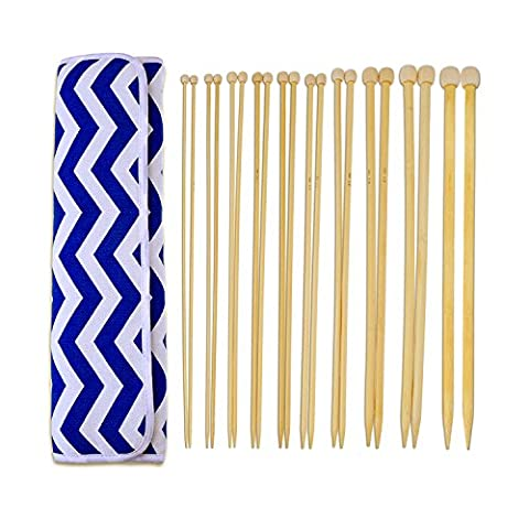Blulu 20 Pieces 10 Sizes Bamboo Knitting Needles Set Single Pointed Needles Kit with Needles Pouch Case, 14 Inch (3 mm to 10 (Large Needle Point Set)