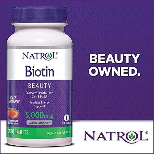 Natrol Biotin 5000 mcg Fast Dissolve Tablets (Strawberry (2 Pack)) - Mcg Fast Dissolve Tablets