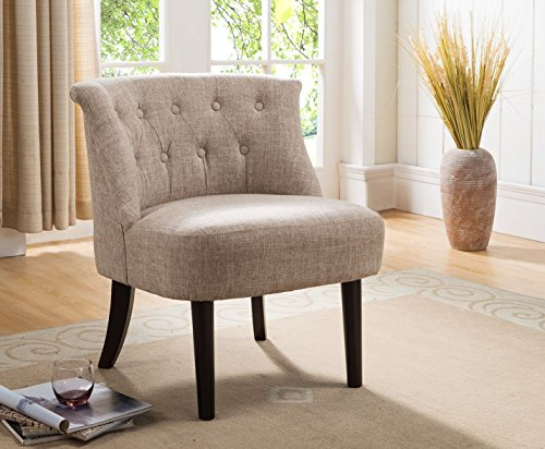 Bedroom Accent Chairs - Kings Brand Furniture Accent Chair with Button Tufts, Light Brown/Dark Cherry