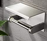YIGII Toilet Paper Holder with Shelf - Stainless Steel Toilet Roll Holder Self Adhesive or Wall Mounted for Bathroom