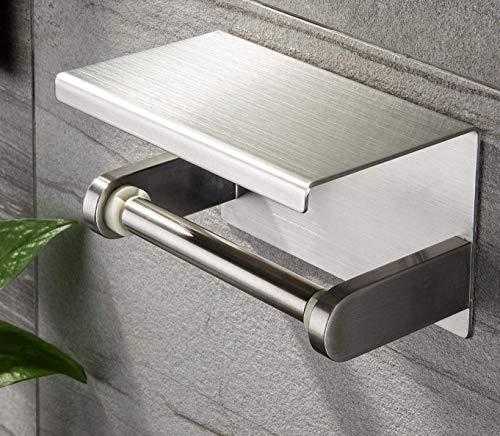 YIGII Toilet Paper Holder with Shelf - Stainless Steel Toilet Roll Holder -