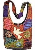 Boho Bohemian Recycled Ripped Razor Cut Patch Fringe Peace Sling Crossbody Monk Bag Purse Nepal