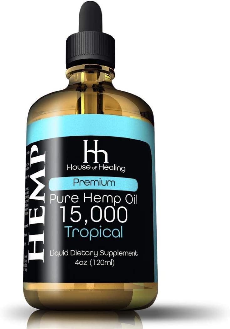 Hemp Oil for Pain Anxiety Relief :: Hemp 15,000mg :: Hemp Extract :: May Help with Inflammation, Joints, Mood, Sleep & More :: Hemp Drops :: Rich in Omega 3,6,9 (Tropical)