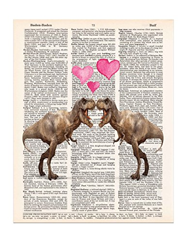 T-Rex in Love, Two Dinosaurs, Pink Hearts, Dictionary Page Art Print, 8x11 UNFRAMED (Quirky Art Prints)