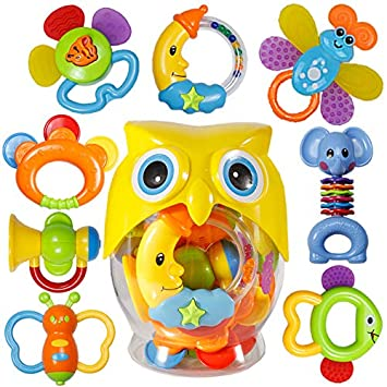 BABY NEWBORN RATTLE WITH TEETHER HAND SHAKE BELL RING EDUCATIONAL TOYS CHEERFUL