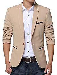 Men's Slim Fit Suits Casual One Button Flap Pockets Solid Blazer Jacket