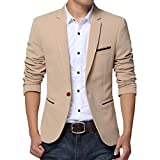 Pishon Men's Slim Fit Suits Casual One Button Flap Pockets Solid Blazer Jacket, Khaki, Tag Size 4XL=US Size L