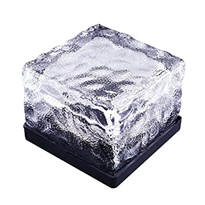 WINOMO Waterproof Solar Path Ice Cube Rocks LED Frosted Glass Brick Paver Garden In-groud Buried Light for Outdoor Path Road Square Yard (Seven-Color)