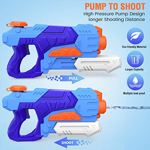 Kiztoys Water Gun Toys for Kids, 2 Pack Powerful Water Pistols with 1200ML Large Capacity and 27ft Long Range for Summer Water Sports Garden Beach