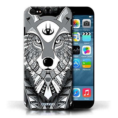 Etui / Coque pour Apple iPhone 6/6S / Loup-Mono conception / Collection de Motif Animaux Aztec