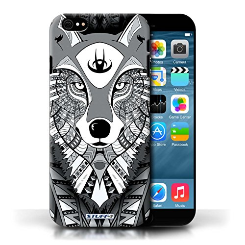 Hülle Case für Apple iPhone 6/6S / Wolf-Mono Entwurf / Aztec Tier Muster Collection