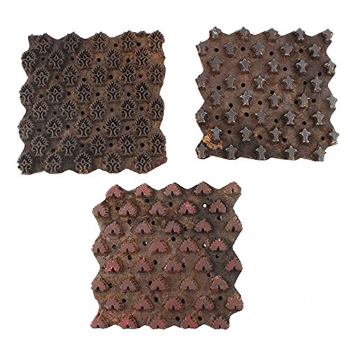 IndianShelf Set of 3 Piece Brown Wooden Paper Handmade Textile Printing Stamp Canvas Fabric Block by Indian Shelf