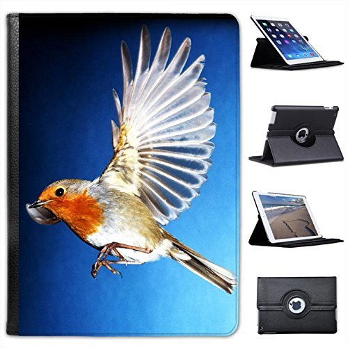 Red Breasted Robin Bird In Flight For Apple iPad Air 2 [2014 Version] Faux Leather Folio Presenter Case Cover Bag with Stand Capability (Red Breasted Robin)