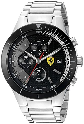 Ferrari Men's 0830263 REDREV EVO Stainless Steel Bracelet Watch with Black Dial