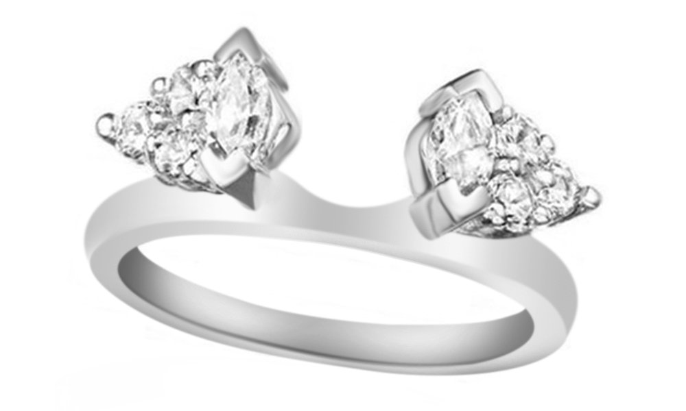 Cubic Zirconia Classic Style Three Stone Inspired Wrap Ring in 14k White Gold Over Sterling Silver (1 Cttw)