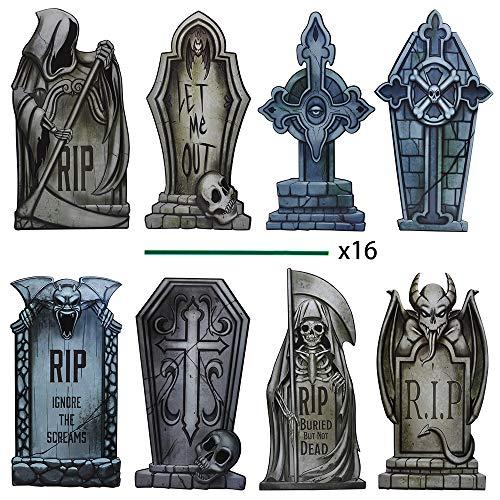 JOYIN Pack of 8 Halloween Tombstone Yard Decorations, 16.5