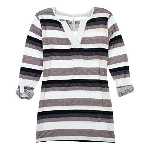 Leo & Nicole Ladies' Stripe Tunic, Lightweight, V-neck Line, Tunic Style (Large, Black Stripes) (Nicole Spandex Tunic)