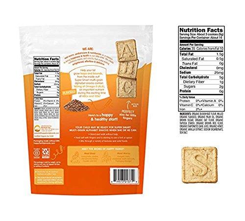 Happy Tot Organics Multi Grain Alphabet Snacks Bundle: Vanilla Oat, Cinnamon Sweet Potato (1 bag of each)
