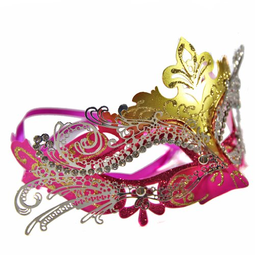 Exclusive Womens Ball Prom Queen Crown Metal Venetian Mask Masquerade (Gold/Pink)