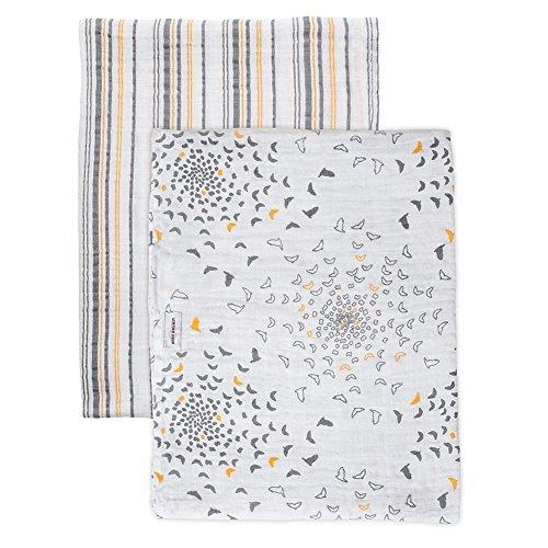 Bebe au Lait Premium Muslin Swaddle Blanket Set, Sparrow and Vintage Stripe
